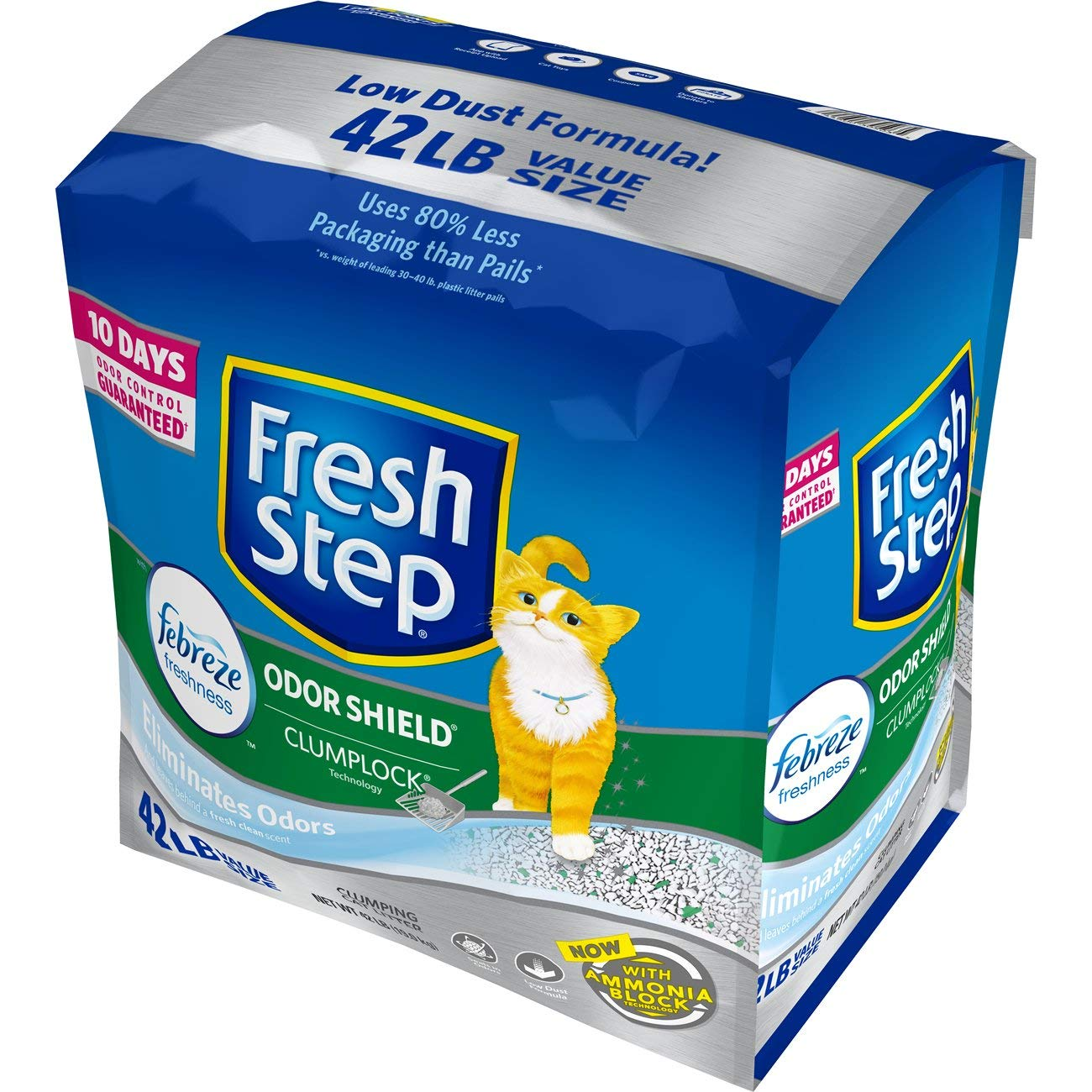 Fresh Step Odor Shield Scented Litter with the Power of Febreze, Clumping Cat Litter, 42 Pounds by Fresh Step