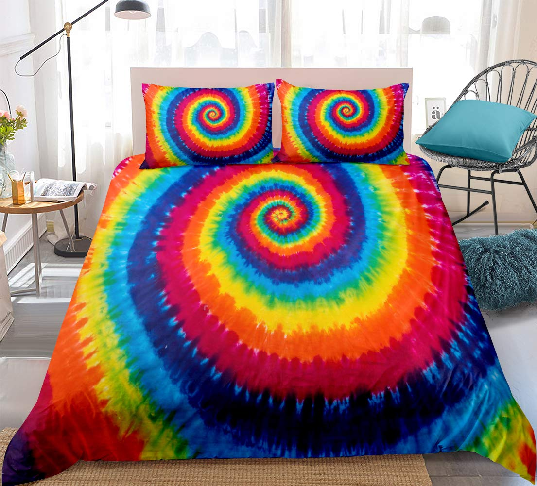 Hippie Rainbow Tie Dye Bedding with Zipper Closure Colorful Microfiber 3 Piece Bedding Set Full Size 1 Duvet Cover 2 Pillowcases (Colorful, Full)