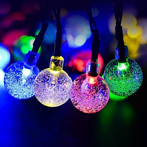 Easytoy Solar Globe String Lights 30 LED Outdoor Crystal Ball Christmas Decoration Light Waterproof Solar Patio Lights Decorative for Xmas Tree Garden Home Lawn Wedding Party Holiday Multicolored
