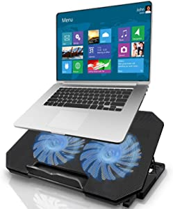 Laptop Cooling Pad, Gaming Laptop Cooler Stand with 2 Quiet Cooling Big Fans, 5 Stand Height Adjustable, Dual USB 2.0 Ports, Adjustable The Wind Speed for 11-17