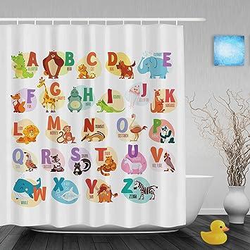 Delightful Kawaii Cartoon Animals Educational Alphabet Letters Kids Nursery Bathroom Shower  Curtains High Quality Waterproof Mildew Ployster