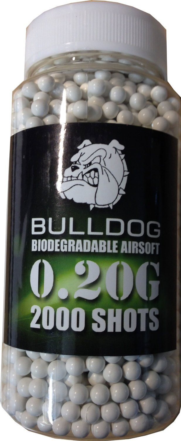 Bulldog High Pro Grade - Munición para pistolas de balines de peso medio (bote de 2000 perdigones biodegradables de 6 mm y 0,20 g), color blanco Ace Novelties