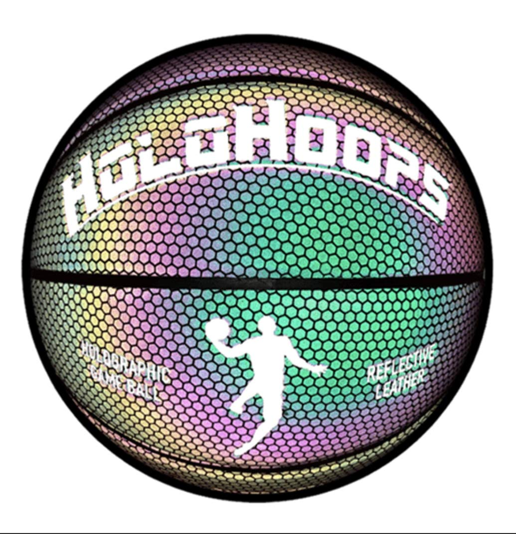 HoloGear HoloHoops Holographic Glowing Reflective Basketball - Light Up Camera Flash Glow in The Dark Basketballs - Hoop Gifts Toys for Kids and Boys - Perfect Toy