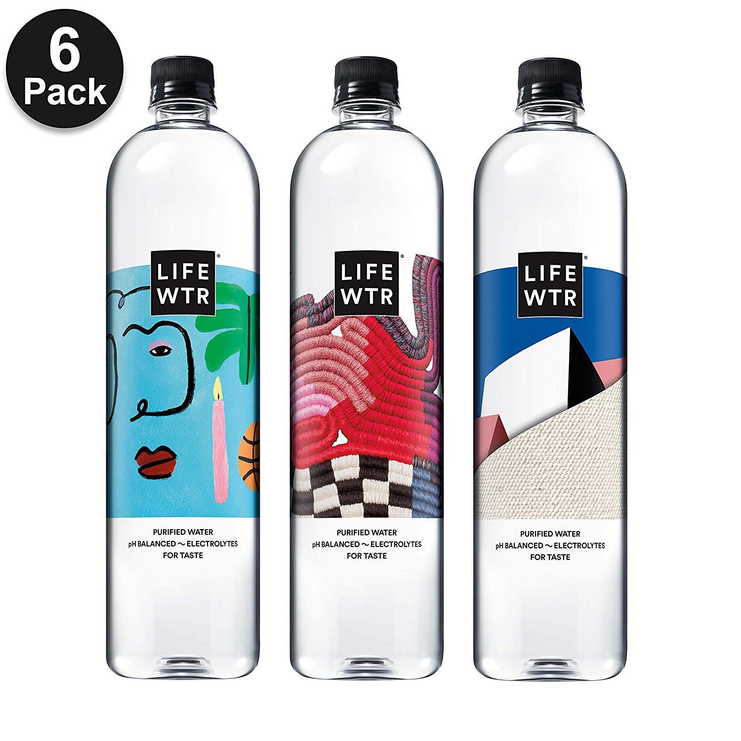 LIFEWTR, Premium Purified Water, pH Balanced with Electrolytes For Taste, 1000 mL (6 Count) (Packaging May Vary) (24 Count) by LIFEWTR