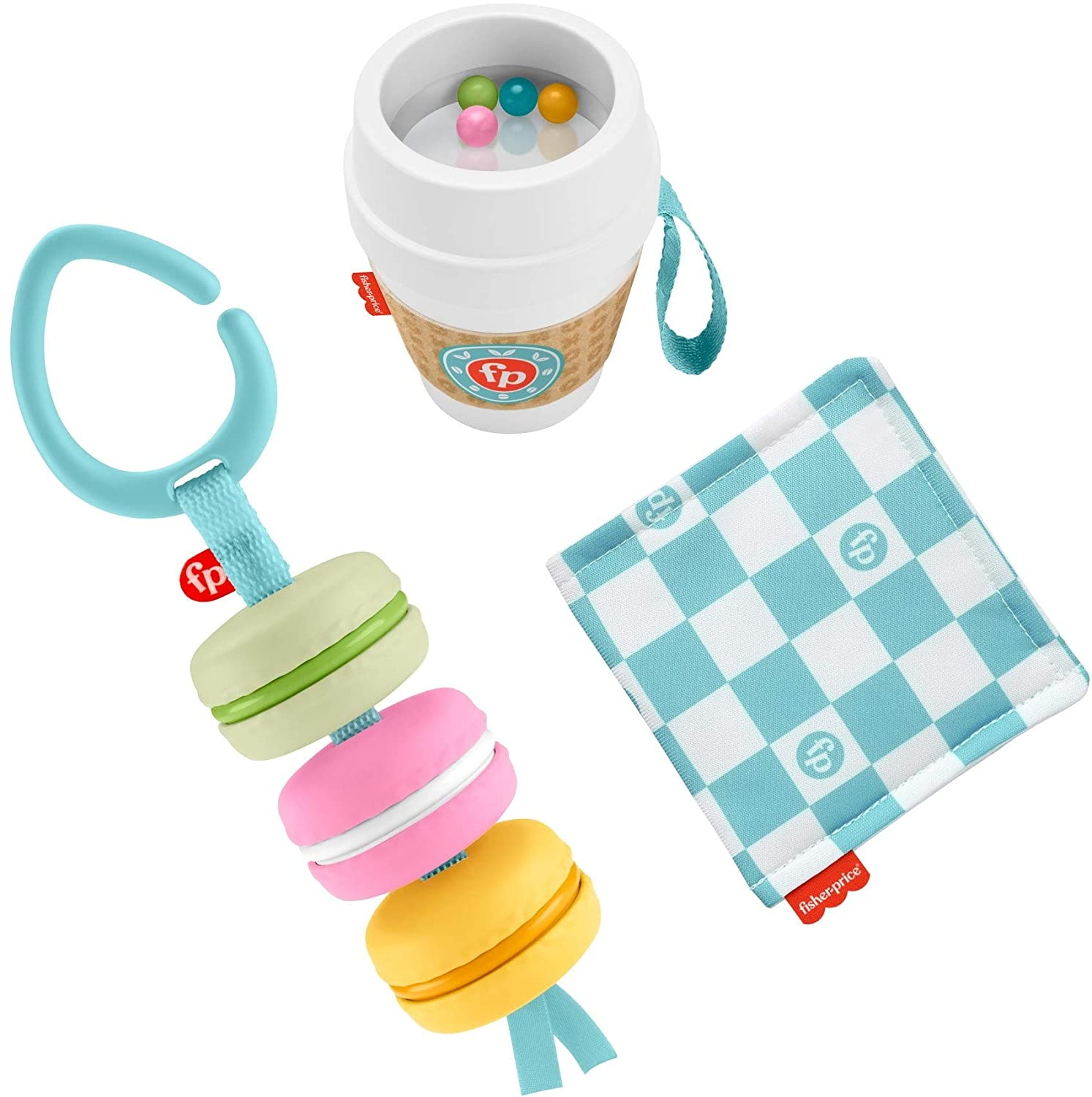 Fisher-Price Bakery Treats Gift Set, 3 Food-Themed Infant Toys & Teether for Babies Ages 3 Months & Up