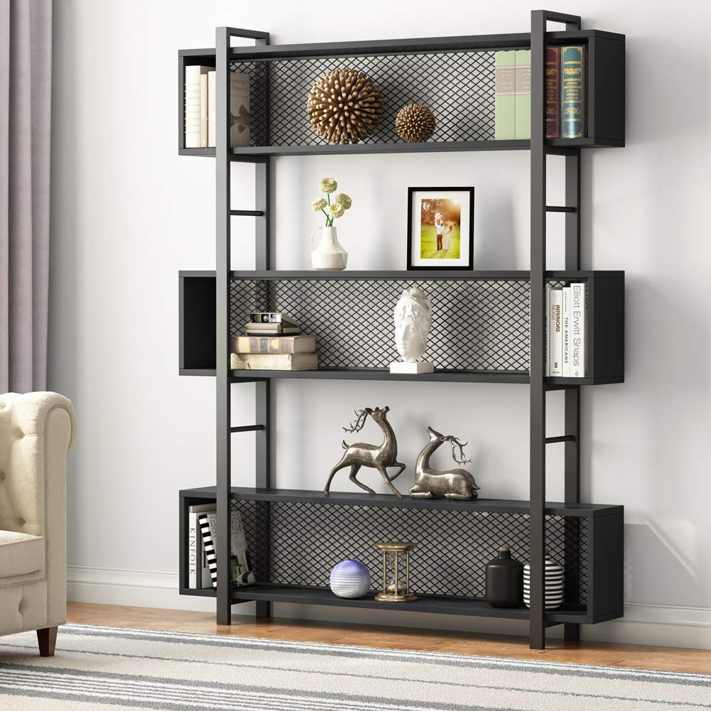 Tribesigns 5-Shelf Bookshelf with Metal Wire, Vintage Industrial Bookcase Display Shelf Storage Organizer with Metal Frame for Home Office, 47.2'' L x 9.4'' D x 71'' H (Black, 71 in)