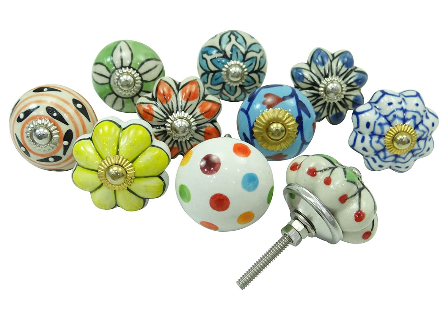 Lot Of 10 Pcs Decorative Cabinet Ceramic Knobs Kitchen Drawer Knob Cupboard Pull Ibacrafts