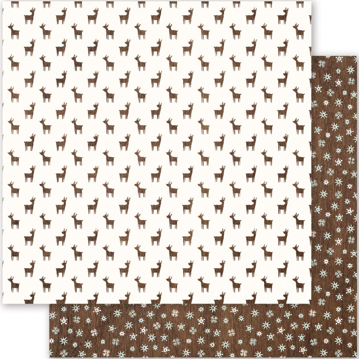 Pebbles Holly Jolly Collection Christmas 12 X 12 Double Sided Paper Oh Deer (4 Pack)
