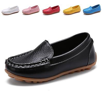 DADAWEN Boy's Girl's Slip-On Loafers Oxford Shoes Brown US Size 7.5 M Toddler elr9jkV82Q
