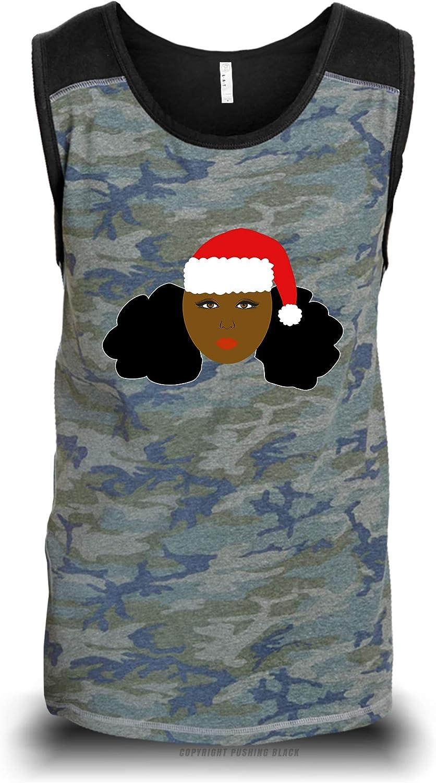 , Medium Camouflage with Black Shoulders LAT Beautiful Black Queen with Christmas Hat Unisex Raglan Tank Top