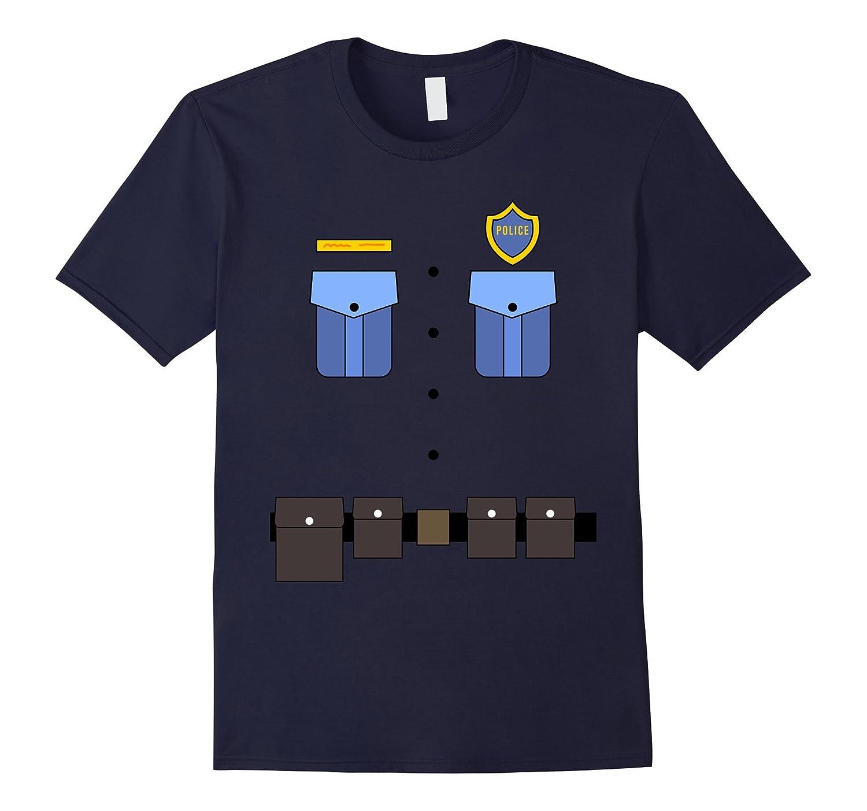 Police Uniform Costume T-Shirt   Halloween Cop Shirt-FL