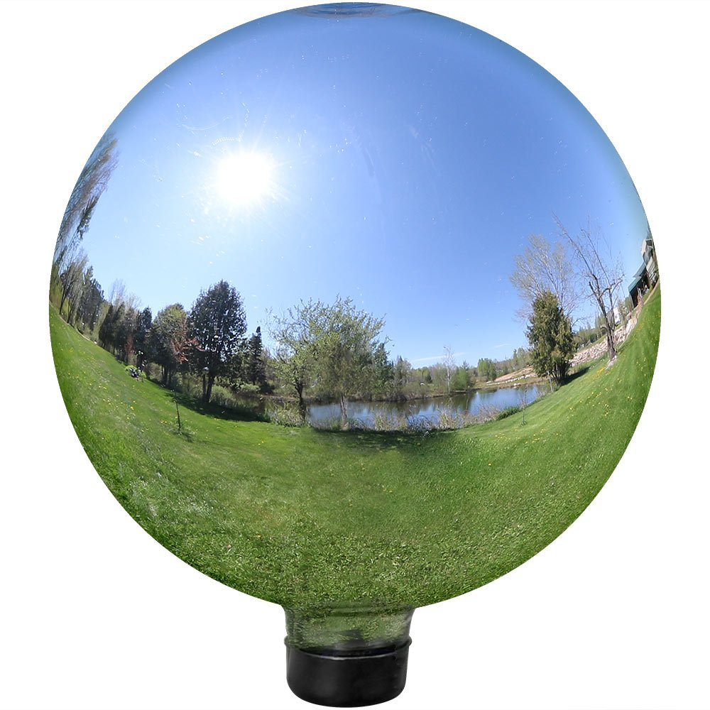 Sunnydaze Gazing Globe Glass Mirror Ball, 10 Inch, Stainless Steel Silver