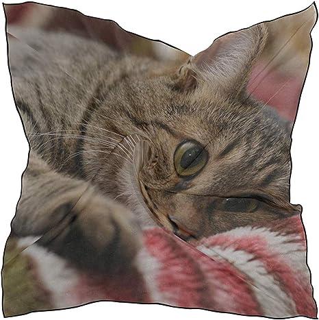 Bufanda de seda Bufanda de satén cuadrada Cara de gato Ojos ...