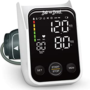 Blood Pressure Monitor, BOB AND BRAD Accurate Automatic Digital Upper Arm BP Machine for Home Use, Pulse Rate Monitoring, Extra-Large Cuff, LED Display, 240 Sets Memory, Include Battery, Carrying Case