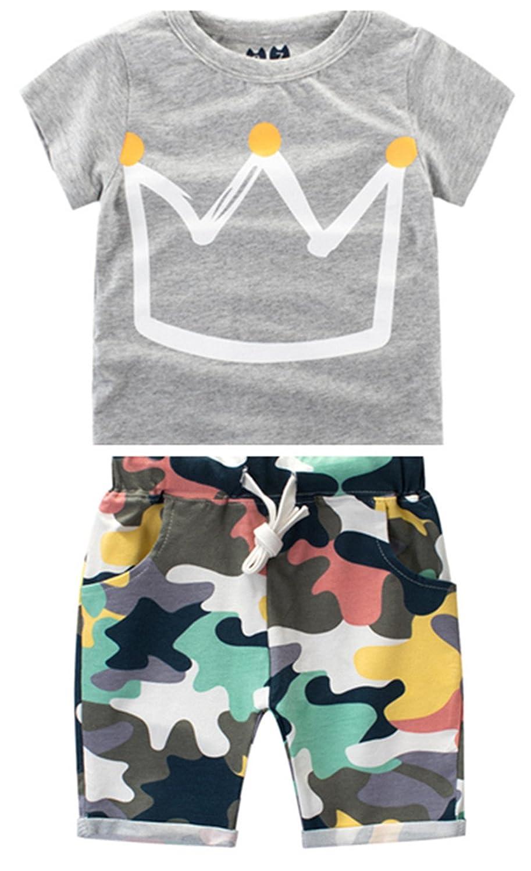 FTSUCQ Boys Cartoon Crown Short Sleeve Shirt Top with Camo Shorts Two-Pieces Sets