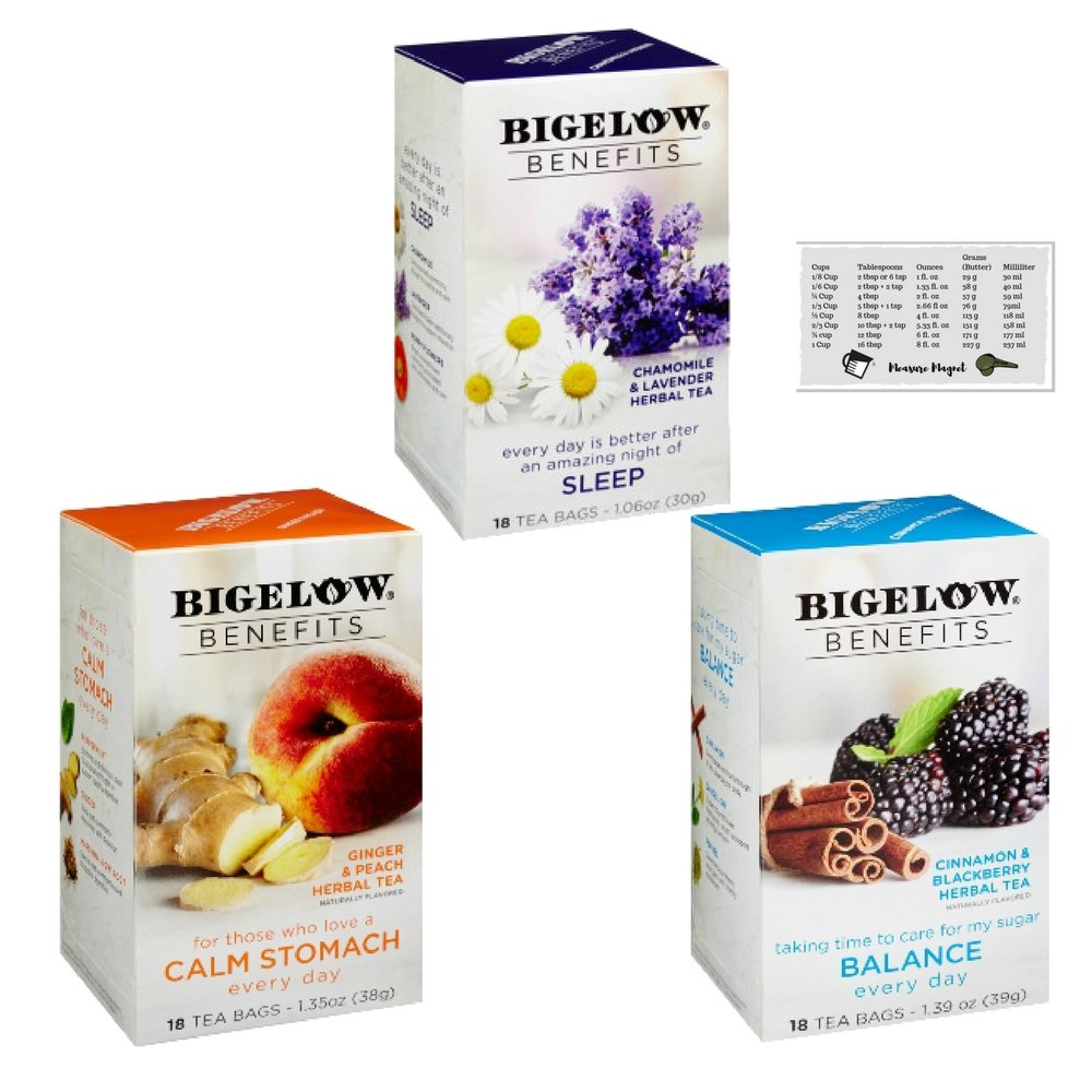 Bigelow Benefits Cinnamon and Blackberry, Ginger and Peach & Chamomile and Lavender Herbal Tea Bundle - 18 Count Boxes (Pack of 3) + Kitchen Measure Magnet