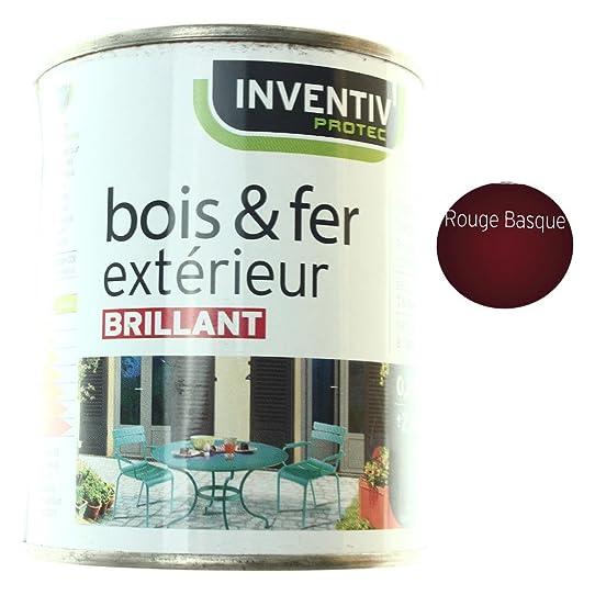 Peinture Brillante Bois & Fer Extérieur Rouge Basque 25Cl: Amazon.Fr