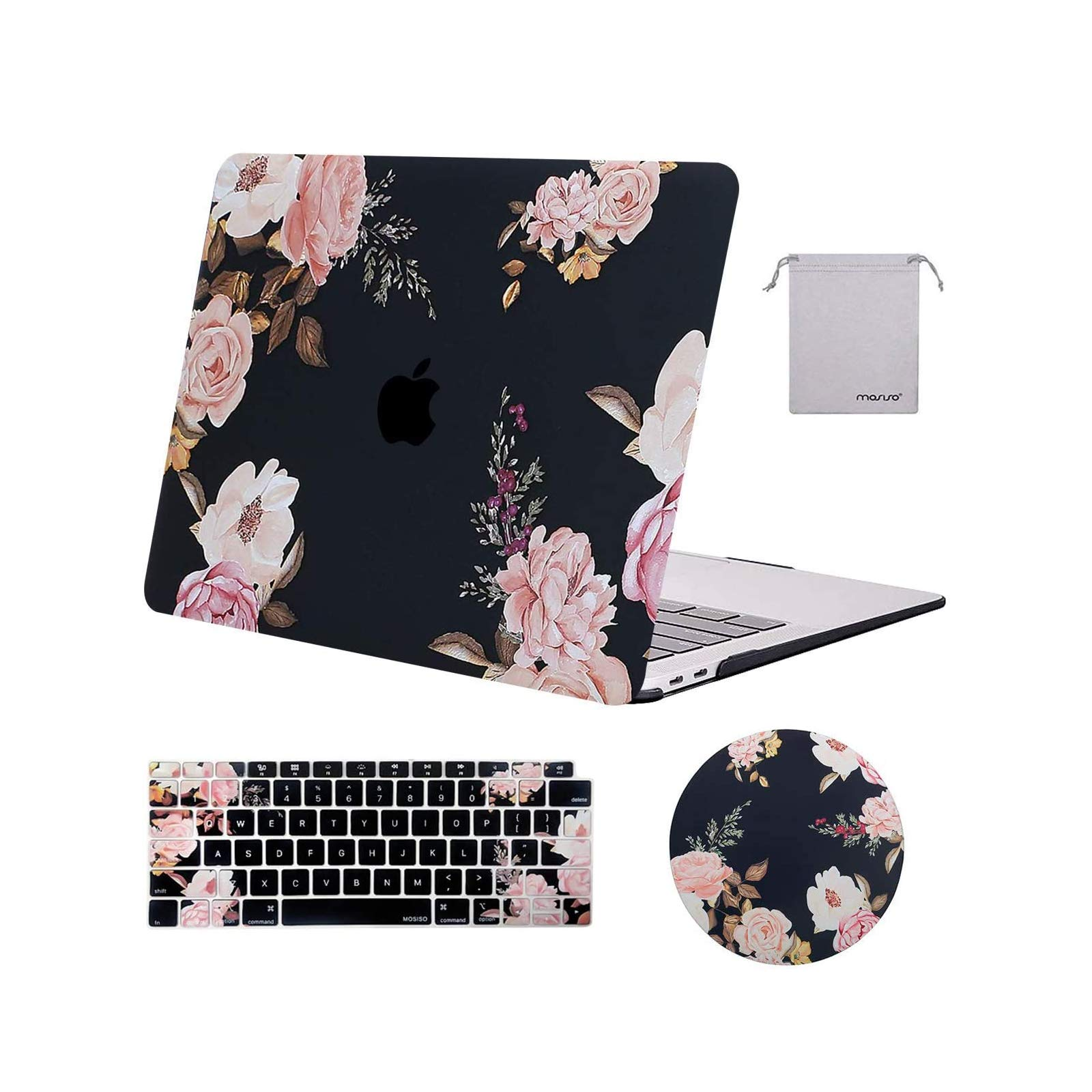 MOSISO Compatible with MacBook Air 13 inch Case 2020 2019 2018 Release A2337 M1 A2179 A1932 Retina Display with Touch ID, Plastic Peony Hard Shell Case&Keyboard Cover&Mouse Pad&Storage Bag, Black