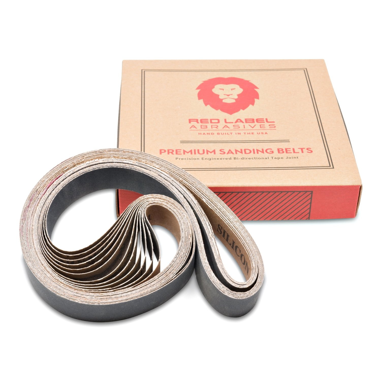1 X 30 Inch Premium Silicon Carbide Sanding Belts - 180, 220, 320, 400, 600, 800 Grit - 12 Pack Assortment