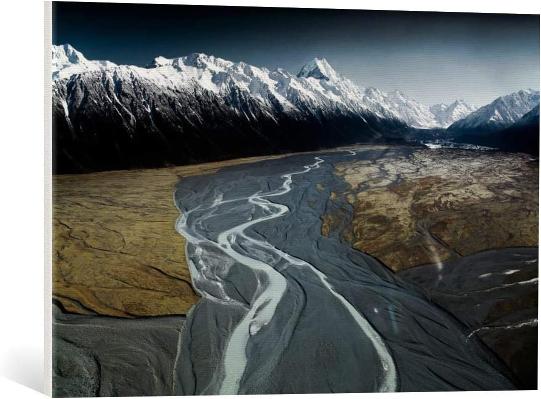 Kunst für Alle Cuadro en Lienzo: Tristan Shu Aoraki Mont Cook and Tasman Lake Valley - Impresión artística, Lienzo en Bastidor, 75x50 cm