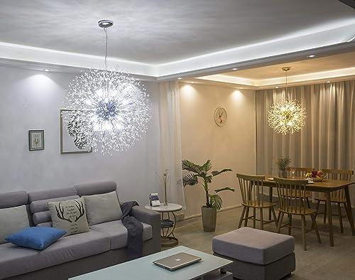 Garwarm Modern Firework Chandeliers,Crystal Chandelier Pendant Lighting,Ceiling Lights Fixtures for Living Room Bedroom Restaurant,9-Light