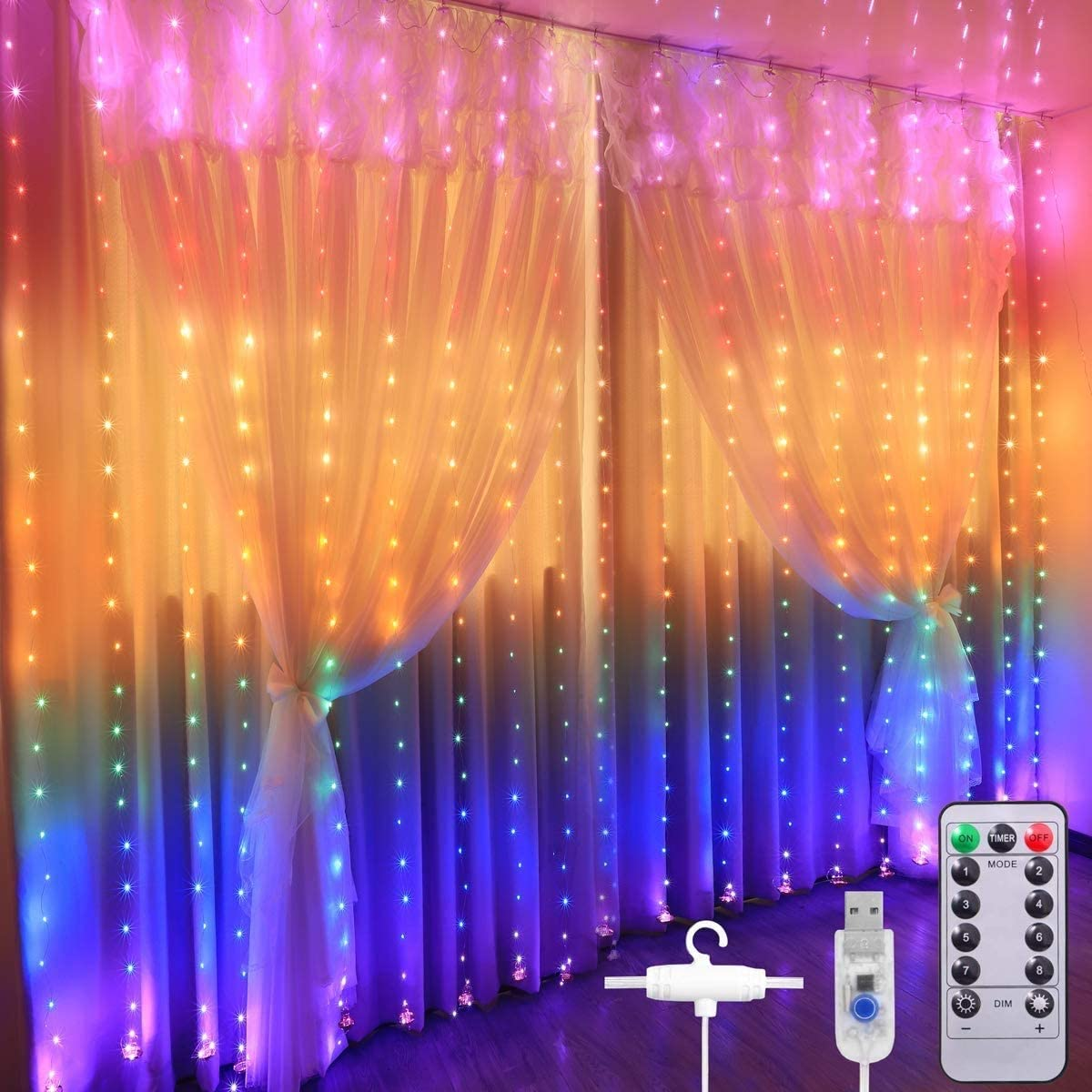 ANWER 280 LED Curtain Lights, 3m x 2.8m USB Window Fairy String Lights with 8 Modes Remote Control Timer Waterproof Copper Light for Outdoor Indoor Wedding Party Garden Bedroom Decoration