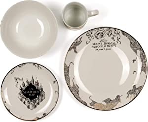 Harry Potter Marauder's Map Porcelain 4 Piece Place Setting - Includes 1 Dinner Plate, 1 Salad Plate, 1 Bowl and 1 Mug - Gold Marauders Map Design