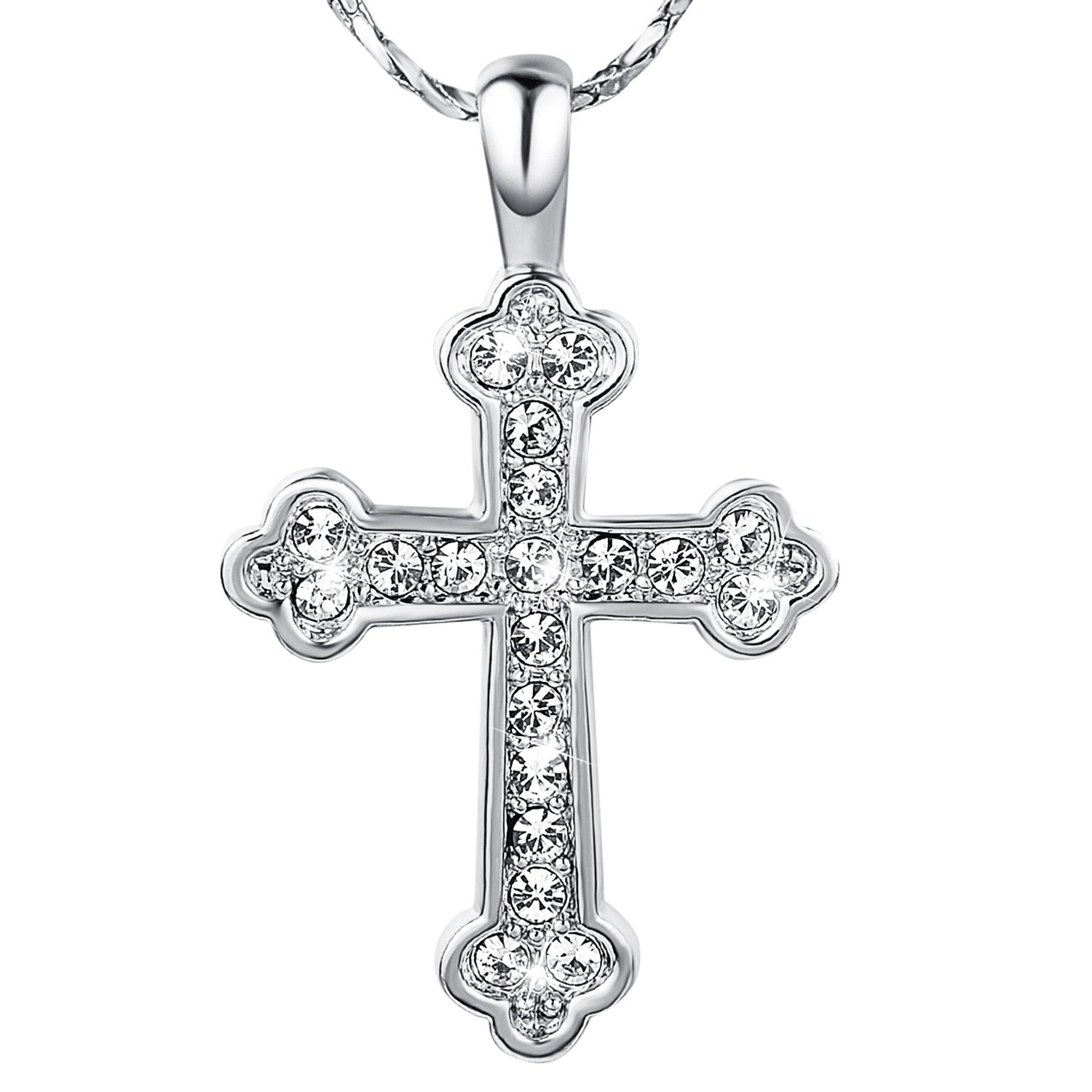 Yoursfs 18K White/Rose Gold Plated Cubic Zirconia Budded Cross Necklace with Pendant for Women Fashion Jewelry Gift Italina N126R1-CA