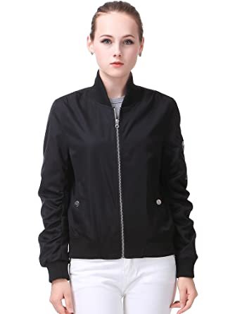 54d1cb815ad MIYA Classic Flight Jacket Short Bomber Jacket Women Coat at Amazon ...