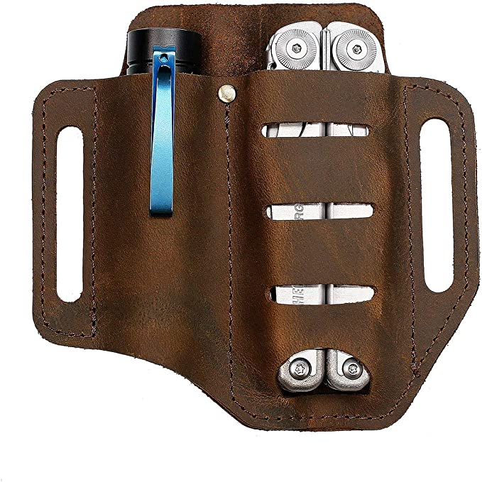 PU Leather Tactical Multifunction Belt Tool Pouch EDC Tool Storage Bag Pouch:Q