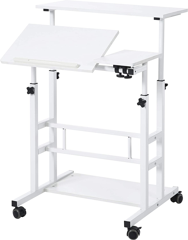 UNICOO- Rolling Laptop Cart, Height Adjustable Sit Stand Workstation, Mobile Standing Desk, Rolling Presentation Cart, Computer Workstation (White - U101)