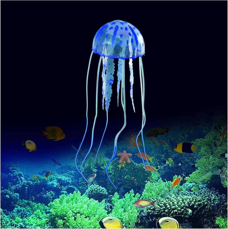 FuninCrea Decorazioni di Meduse per Acquario, Ornamento di Piante di Meduse di Simulazione,Decorazioni di Meduse Luminose per Acquari, Decorazioni per Acquari Adatte a Vari Acquari (Blu)