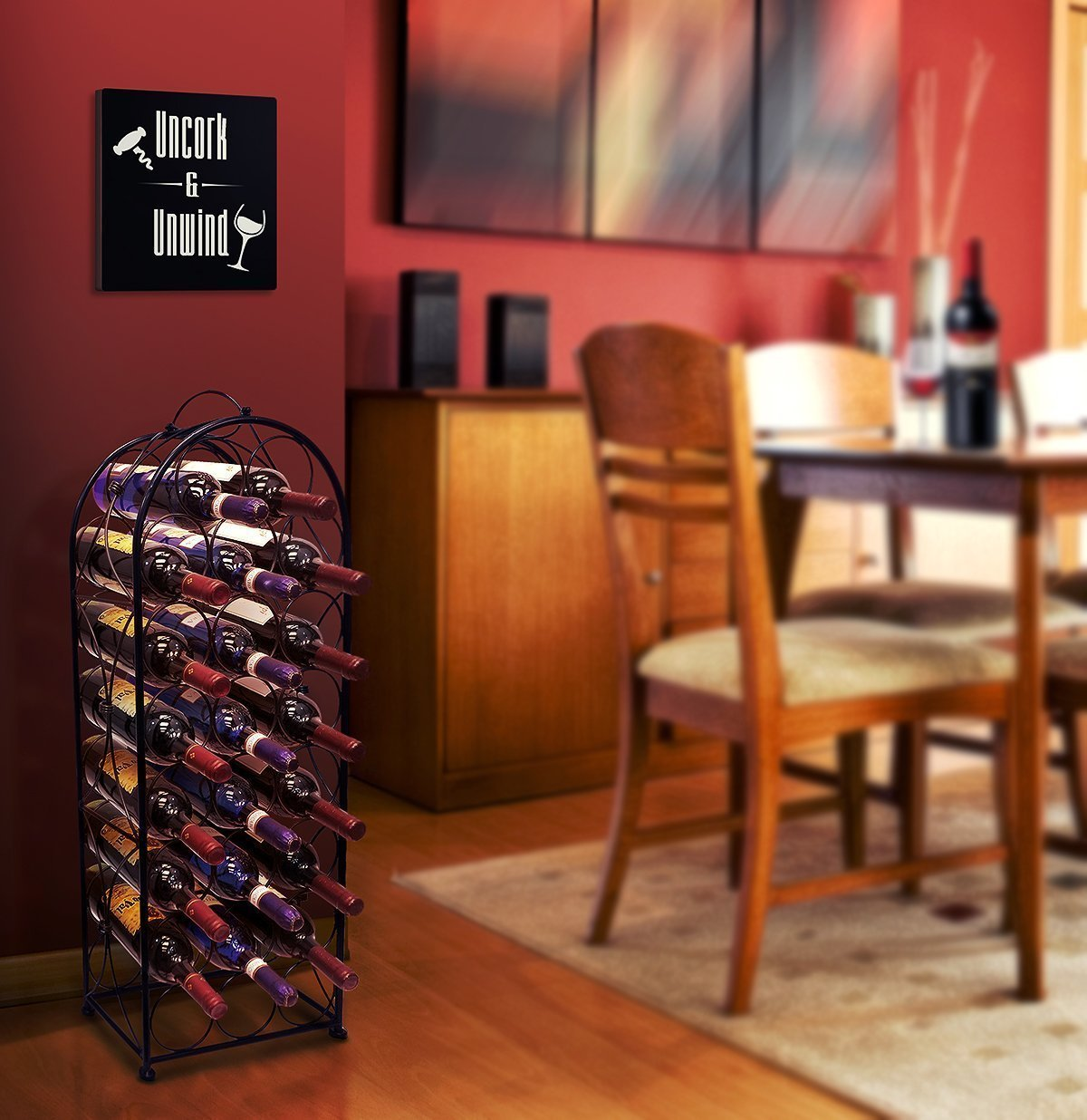 Sorbus Wine Rack Stand Bordeaux Chateau Style - Holds 23 Bottles of Your Favorite Wine - Elegant Looking French Style Wine Rack to Compliment Any Space - No Assembly Required (Black) by Sorbus (Image #3)