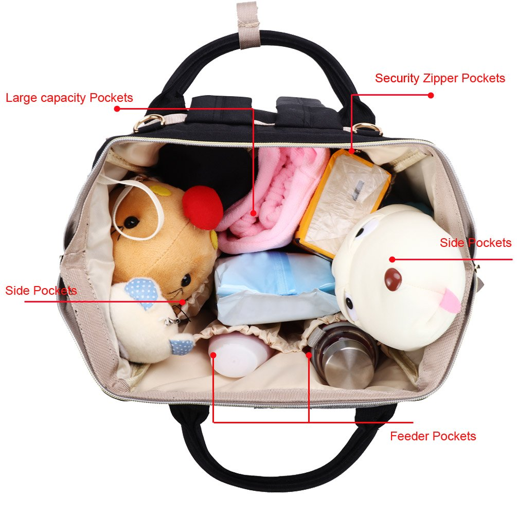 Multi-Function and Stylish Hiday Diaper Backpack Set-Diaper Bag+Changing Pad+Insulated Bottle Pocket+Stroller Straps