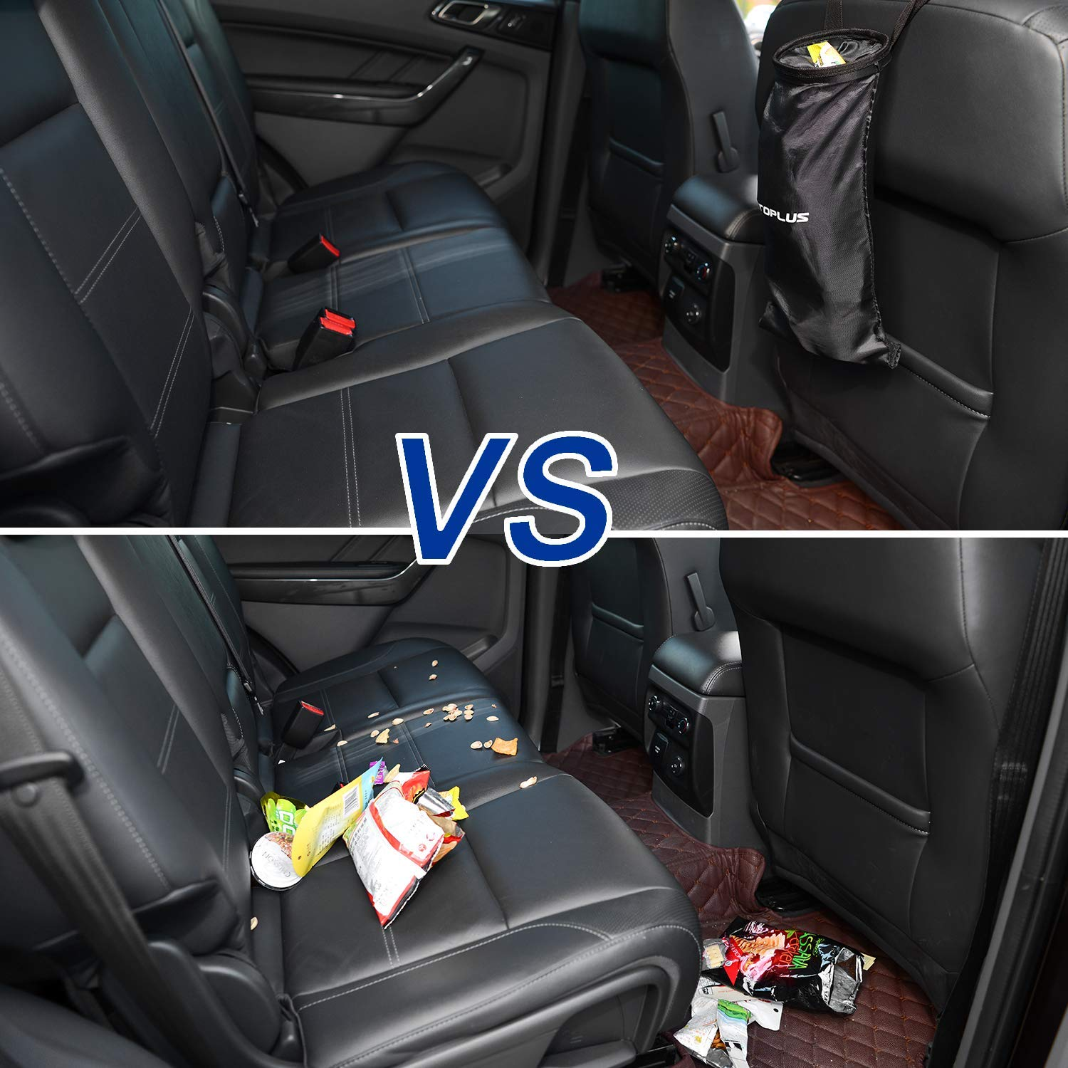 XBRN 2 Pack Car Trash Bags Travelling Vehicle Garbage Can,Seat Back Hanging Auto Rubbish Bag,Car Litter Bag,Washable Leakproof Eco-Friendly with Adjustable Strap for Car Outdoor and Vehicle Uses