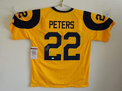 e2b1d259 MARCUS PETERS SIGNED AUTO ST LOUIS RAMS COLOR RUSH YELLOW JERSEY JSA ...