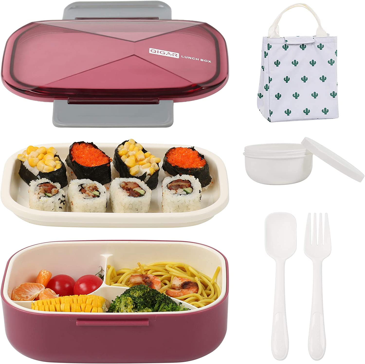 Bento Boxes for Adults and Kids with Lunch Bag, Large Capacity Leak-Proof Bento Lunch Box,2 Tires and 3-In-1 Compartment Meal Containers and Utensil Set,Built-in Plastic Soup Cup (Wine red)