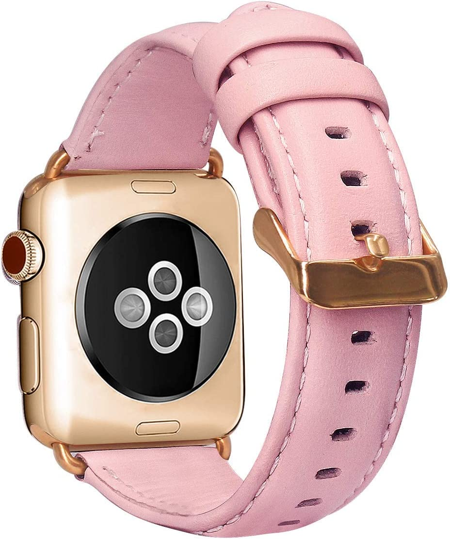 mocodi Leather Band Compatible with Apple Watch 38mm 40mm 42mm 44mm, Classical Genuine Leather Vintage Business Style Replacement Strap Compatible with iWatch Series 5 Series 4 Series 3 Series 2 Series 1