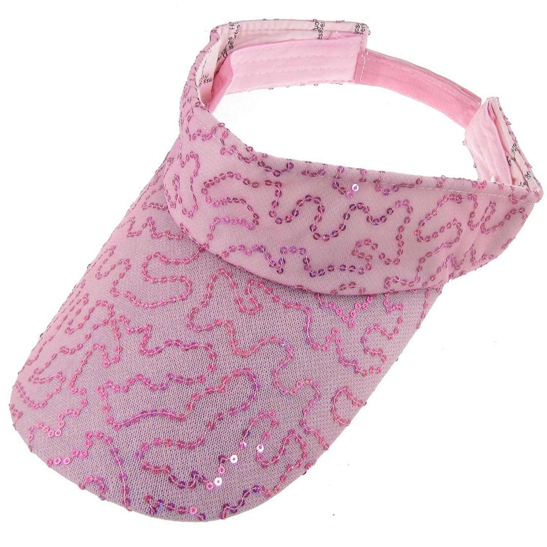 Lady Sequins Detail Mesh Lined Band Sun Visor Cap Hat Pink
