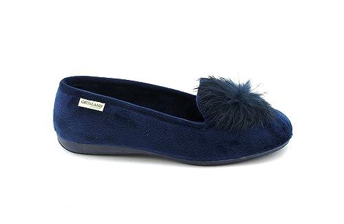 GRUNLAND Taxi PA1102 Blu Pantofola Donna Tessuto Pelo Morbido  Amazon.it   Scarpe e borse 836ea7329fd