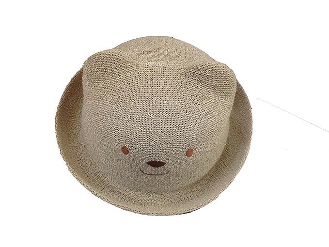 71f97627e03 Amazon.com  Jtc Baby Child 3D Cartoon Bear Frog Cat Duck Fish Straw Hat  Roll up Sun Caps (Bear Light Coffee)  Clothing