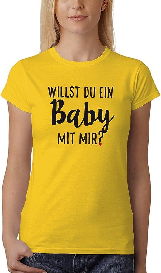 clothinx Damen T-Shirt Willst du EIN Baby mit Mir: Amazon