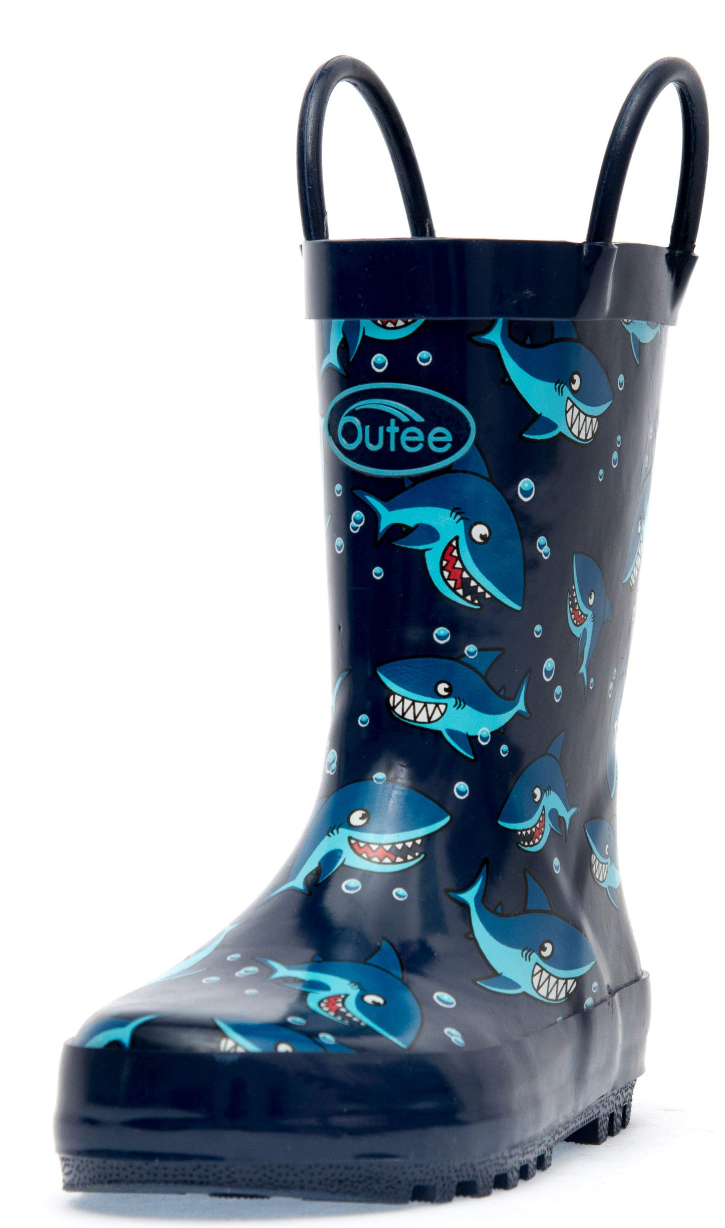 Outee Toddler Rain Boots Boys Kids Rubber Waterproof Shoes Printed Blue Shark Cute Print with Easy On Handles (Size 9,Blue)