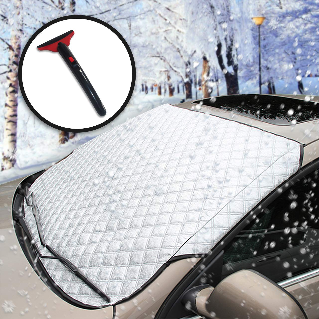 Lamoe Car Windshield Cover, Magnetic Snow Cover Come with Ice Scraper, Heavy Duty Car Cover for Ice Frost Sun UV Water Resistant, Perfect for Normal Car SUVs All Years Summer/Winter (147x112cm)