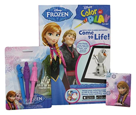 Disney Frozen Color And Play Book Character Molded Crayons 8 Small