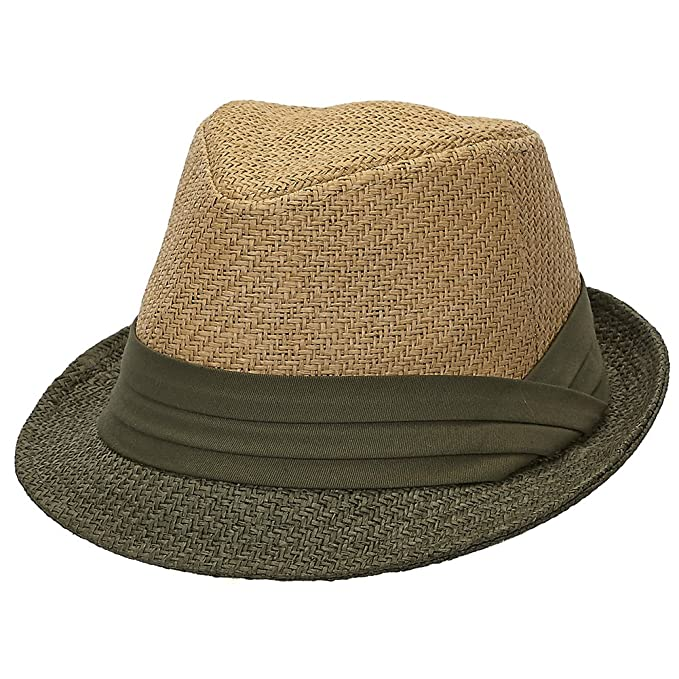 Tropical Woven Plaid Straw Fedora Hat (S M) at Amazon Men s Clothing ... 19c2cde17af