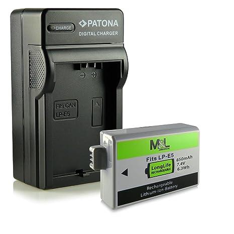 Cargador + Batería LP-E5 para Canon EOS 450D | EOS 500D | EOS 1000D | Digital Rebel Xsi | T1i | XS | Xsi