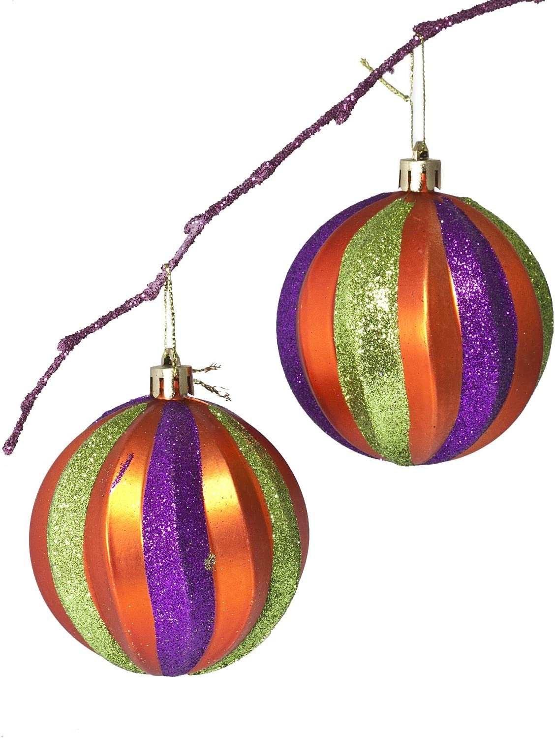 Amazon Com Perfect Holiday Handpainted 2 Piece Shatterproof Christmas Ornament Set 3 14 Inch Matte Orange Ball With Purple And Green Stripe Home Kitchen