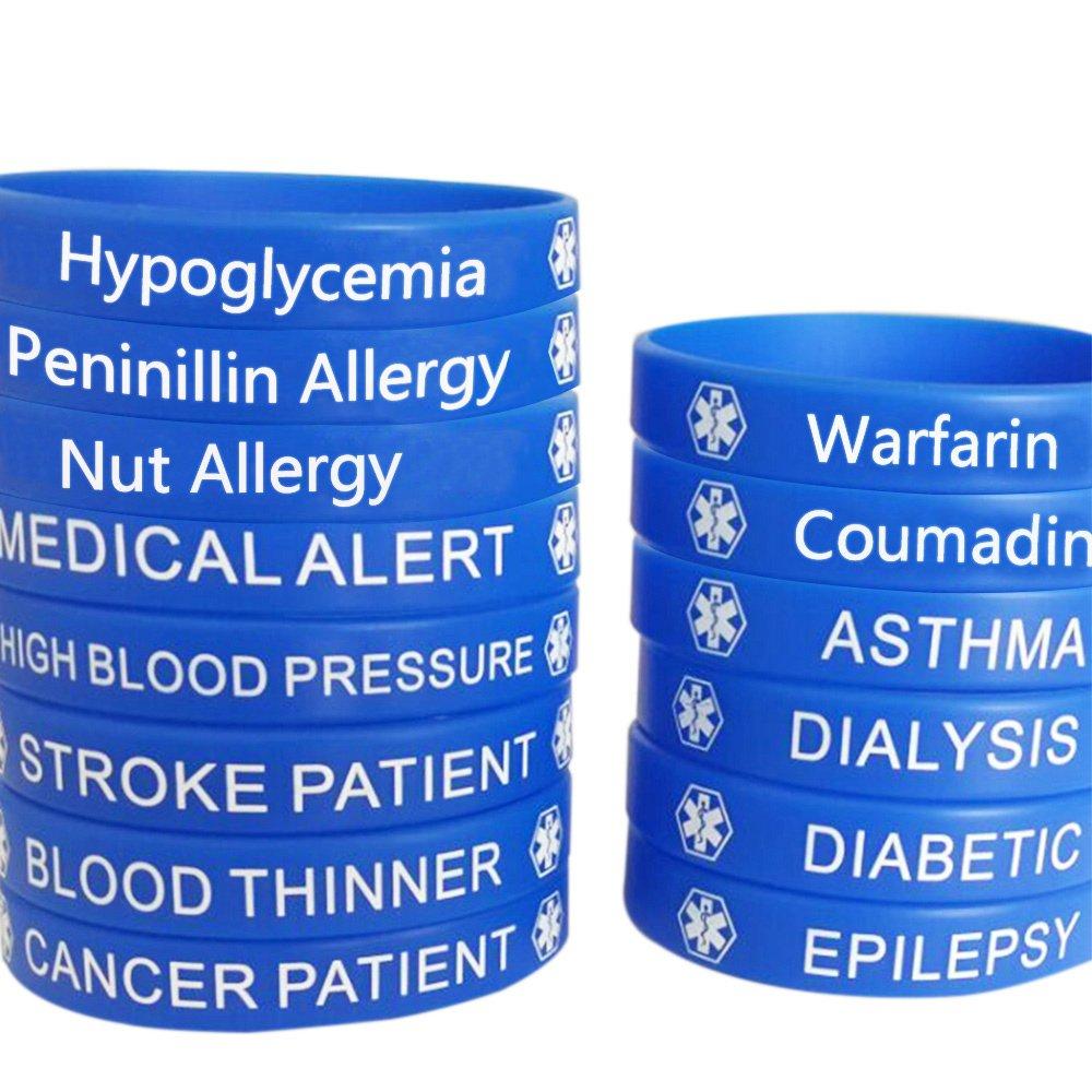Blue Silicone Rubber Medical Awareness Alert Bracelet JUDE
