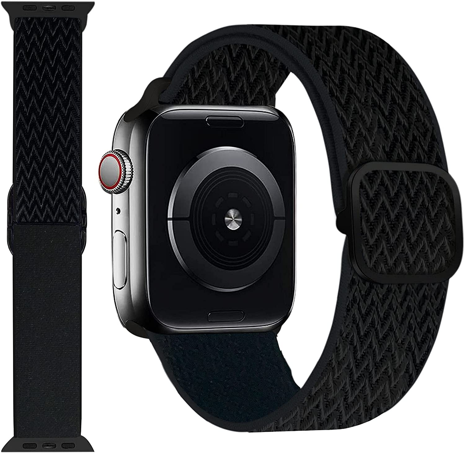 UPOLS Braided Solo Loop Strap Compatible with Apple Watch Band 38mm 40mm 42mm 44mm, Nylon Sport Adjustable Stretch Elastic Women Men Wristband Compatible for iWatch Series 6/SE/5/4/3/2/1